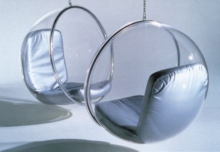 Bubble chair 2x zilveren kussens