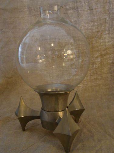 Kandelaar van aluminium en glas Jaren '50