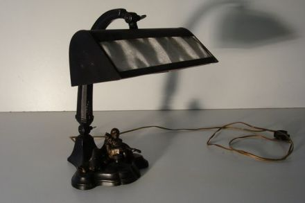 Bronzen bureaulamp Art Deco